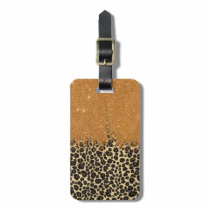Leopard Print with Gold Faux Glitter Brush Stroke Bag Tag
