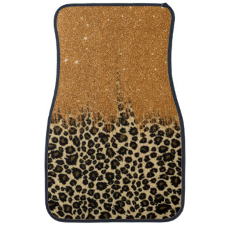 Leopard Print with Gold Faux Glitter Brush Stroke Car Mat