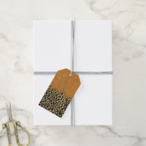 Leopard Print with Gold Faux Glitter Brush Stroke Gift Tags