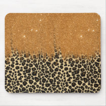 Leopard Print with Gold Faux Glitter Brush Stroke Mouse Pad