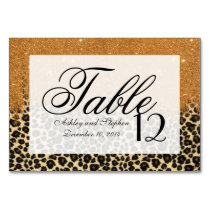 Leopard Print with Gold Faux Glitter Brush Stroke Table Number