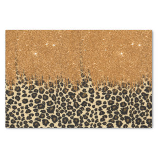 Leopard Print with Gold Faux Glitter Brush Stroke Tissue Paper