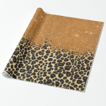 Leopard Print with Gold Faux Glitter Brush Stroke Wrapping Paper