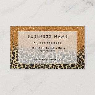Animal print business cards zazzle leopard print with gold faux glitter brush stroke business card reheart Image collections