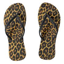 Leopard Print with Gradient Gold Flip Flops