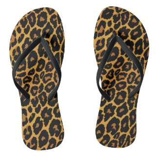 Leopard Print with Gradient Gold Flip Flops