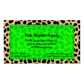 Leopard Print With Lime Green Glass Rectangle Double-Sided Standard Business Cards (Pack Of 100)