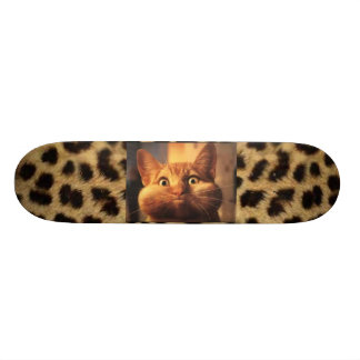 Leopard Print with Orange Tabby Cat Skateboard Deck