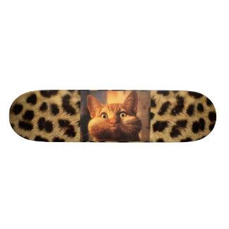 Leopard Print with Orange Tabby Cat Skateboard Deck