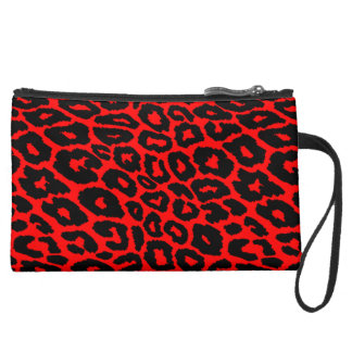 Leopard Print with Red Background Changer Suede Wristlet Wallet