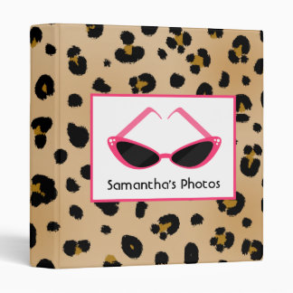 Leopard Print With Retro Pink Sunglasses 3 Ring Binder