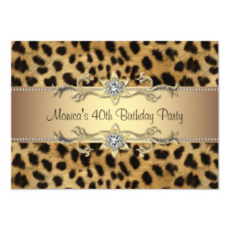 Leopard Print Womans 40th Birthday Party 5x7 Paper Invitation Card