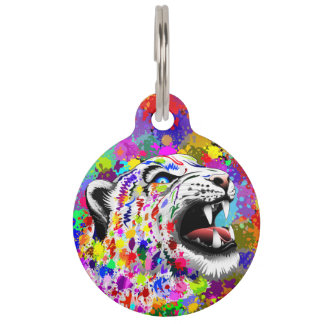Leopard Psychedelic Paint Splats Round_Pet_Tags Pet Name Tags