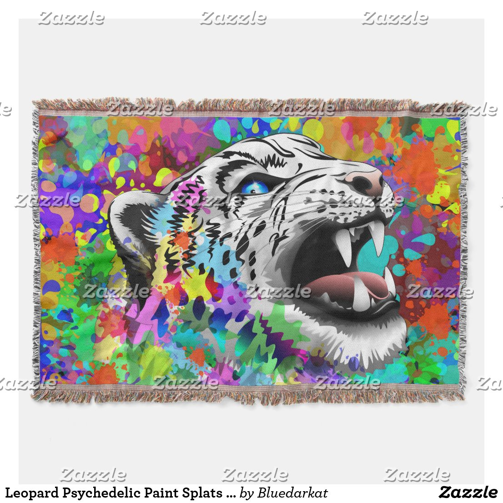 Leopard Psychedelic Paint Splats Throw Blanket