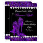 Leopard Purple Black Glamour Night Glitter Shoes Card
