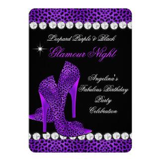 Leopard Purple Black Glamour Night Glitter Shoes Card