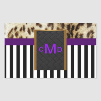Leopard Purple Black & White Stripes Monogram Seal sticker
