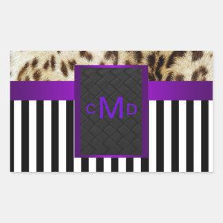 Leopard Purple Black & White Stripes Monogram Seal Rectangle Stickers