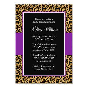 Leopard bridal shower invitations zazzle leopard purple bridal shower invitations filmwisefo