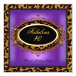 Leopard Purple Gold Black Birthday Fabulous 40 Invitation