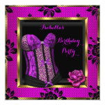 Leopard Purple Pink Plum Lace Rose Corset Party 5.25x5.25 Square Paper Invitation Card