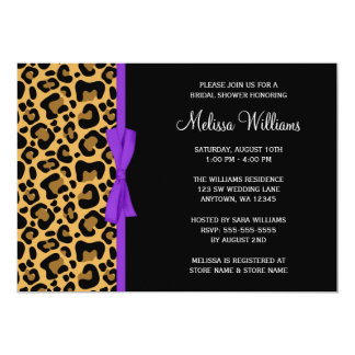 Leopard Purple Printed Ribbon Bridal Shower 5x7 Paper Invitation Card