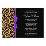 Leopard Purple Printed Ribbon Bridal Shower Card