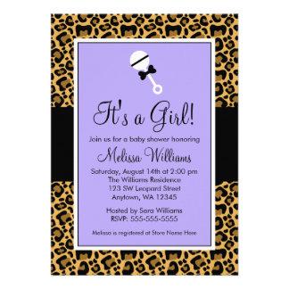 Leopard Purple Rattle Baby Shower Invitations