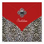 Leopard Red All Occasion Party Event 5.25x5.25 Square Paper Invitation Card