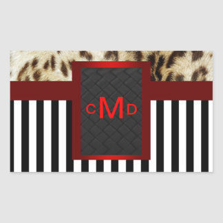 Leopard Red Black & White Stripes Monogram Seal