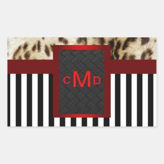 Leopard Red Black & White Stripes Monogram Seal Rectangular Sticker