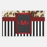 Leopard Red Black & White Stripes Monogram Seal Stickers