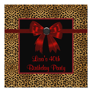 Leopard Red Bow Womans 40th Birthday Custom Announcement