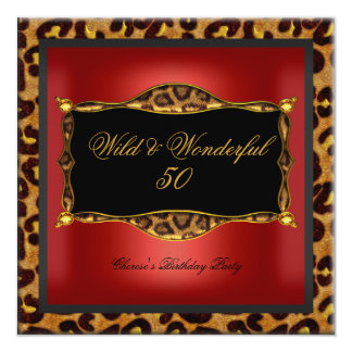 Leopard Red Gold Black Birthday Party Wild 50 Card