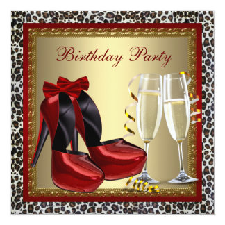 Leopard Red High Heel Shoes Birthday Party Card