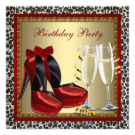 Leopard Red High Heel Shoes Birthday Party Custom Announcement