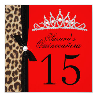 leopard red Quinceanera Card
