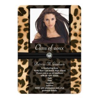 Leopard Ribbon Photo Graduation Card