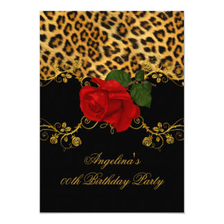 Leopard Roses Red Black Gold Birthday Party 2 5x7 Paper Invitation Card
