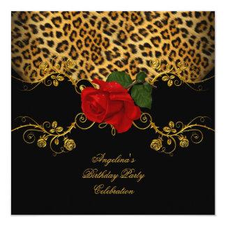 Leopard Roses Red Black Gold Birthday Party Custom Invitation