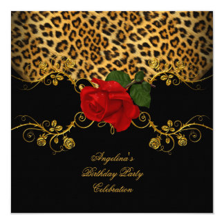 Leopard Roses Red Black Gold Birthday Party Invitation