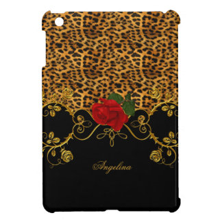 Leopard Roses Red Black Gold Case For The iPad Mini