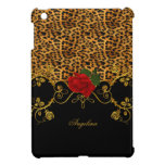 Leopard Roses Red Black Gold iPad Mini Cover