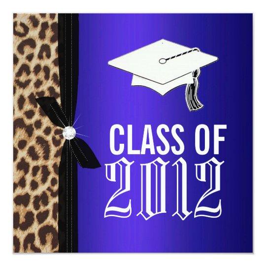 Leopard Royal Blue Graduation Party Card