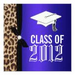 Leopard Royal Blue Graduation Party Personalized Announcements