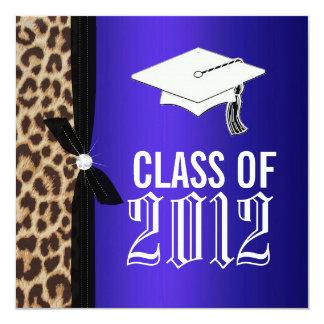 Leopard Royal Blue Graduation Party Invitation