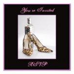 Leopard Shoe Invitation Square, You're Invited