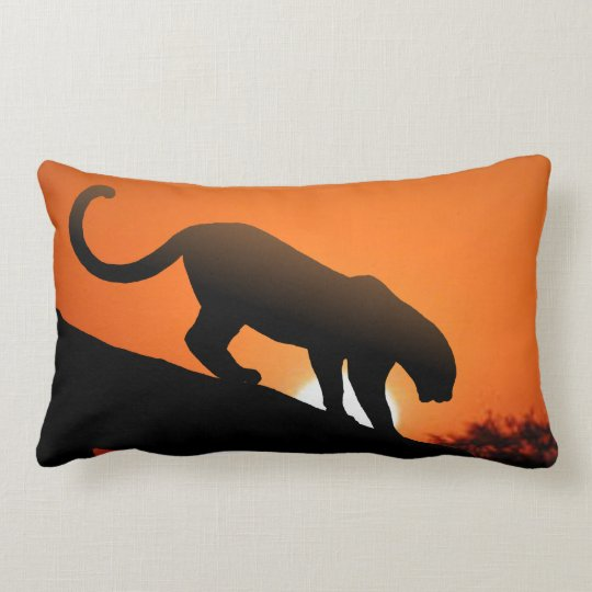 Leopard Silhouette and Mud Cloth Lumbar Pillow