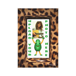 Leopard skin illusion photo frame by Valxart Stretched Canvas Print
