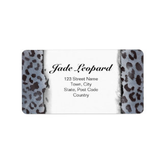 Leopard Skin in Blue Slate Custom Address Label